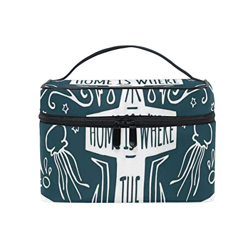 HARXISE Große Reise Kosmetiktasche für Frauen,Handgezeichneter Hipster Etikettendruck des Ankers,Reise für Frauen Make Up Bag