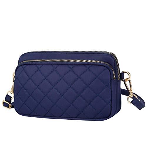 BIGBOBA Sac à cosmétiques, Sac à cosmétiques en cuir imperméable multifonctionnel portable, Lingge Petit sac carré Sac à cosmétiques (Bleu foncé)