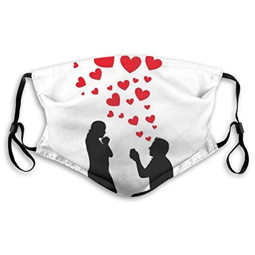 YYTT8 Gesichtsbedeckung Mundschutz Hochzeit Vorschlag des romantischen Paares mit Herzen Bild