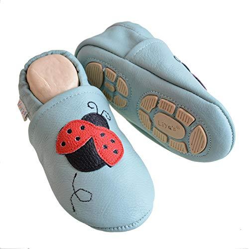 Liya's Pantuflas de piel con suela de goma parcial – #616 mariquita en azul bebé, talla, azul claro, 23/24 EU