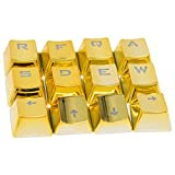 12 Keys PBT Keycaps Backlit Metallic Electroplated Set for Cherry MX Axis Mechanical Keyboard TLT Retail FPS and MOBA Gaming Switch QWER/ASDF/WASD/Direction with Key Puller(Gold)