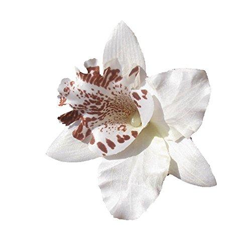 """Pince Cheveux Mariage Broche Boutonnière """" Fleur D'orchidée blanche"""""""