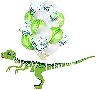 Dinosaur Happy Birthday Banner Dinosaur Party Supplies favors Decorations and 15 pack of Green balloons