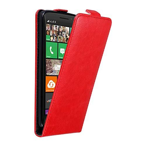 Cadorabo Hülle für Nokia Lumia 930 in Apfel ROT - Handyhülle im Flip Design mit unsichtbarem Magnetverschluss - Hülle Cover Schutzhülle Etui Tasche Book Klapp Style