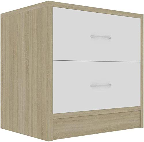 AOIWE Bedside Cabinet bedside tables for bedroom Concrete Grey 40x30x40 cm Chipboard (Color : White and Sonoma Oak)