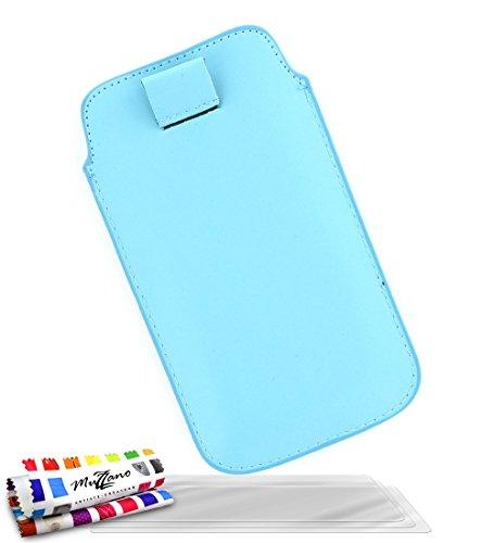 MUZZANO Original Sweep, con 3 pellicole di Protezione per Lo Schermo, Ultra Trasparenti, per Samsung Galaxy Trend Lite 2/SM-G318H, Colore: Blu Lagoon
