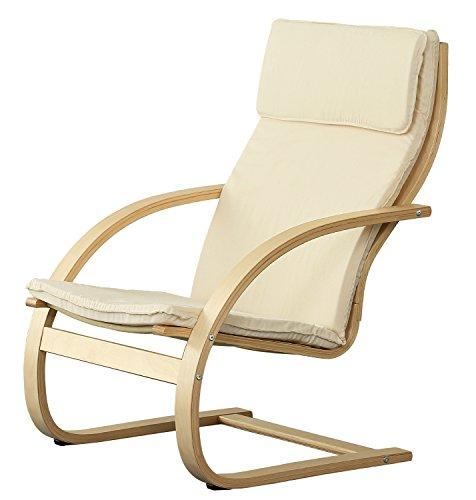 Orolay Fauteuil Confortable Structure Bouleau Flexible Blanc