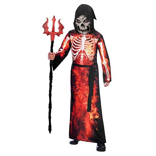 Amscan 9905058 - Kinderkostüm Teuflisches Skelett, Robe mit Kapuze, Gesichtsmaske, Stoffgürtel, Teufel, Sensenmann, Mottoparty, Karneval, Halloween