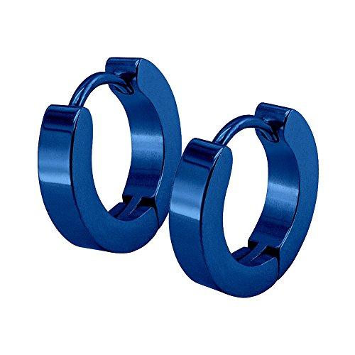 Soul-Cats® 1 Paar Creolen aus Edelstahl/Edelstahlcreolen, Größe:Ø 10mm / 4mm breit;Farbe:blau