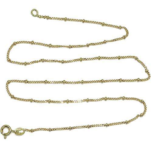 Cadena para Mujer de Oro Amarillo de 18k modelo barbada plana maciza de 1mm de ancha con bolas de 2mm, 45cm de Larga, 2.88gr todo oro de 18k para llevarla sola o con tus colgante favoritos.