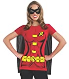 Rubie's Costume DC Comics Women's Robin T-Shirt With Cape And Eye Mask, Red, X-Large