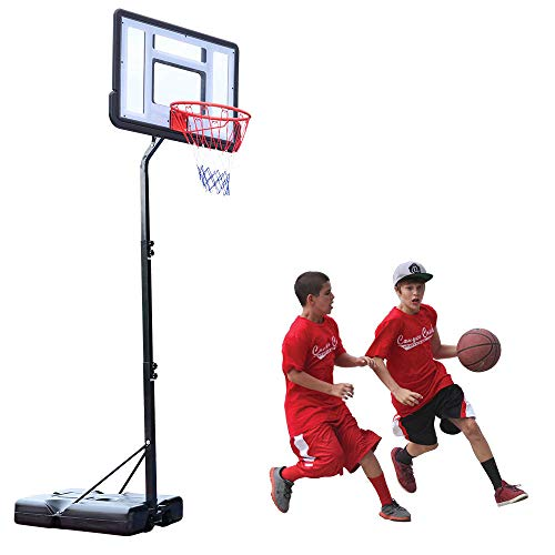 Junior Basketball Hoop and Stand, Portable Basketball Set with Wheels, Stable Base, Large Backboard, Height Adjustable Court Basketball System for Outdoor Indoor 210 to 260 CM【UK STOCK】