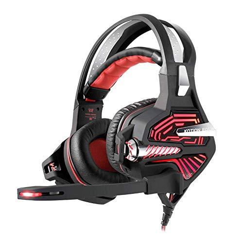 Jszzz Casque Gaming, 3D Gaming Son Casque, Casque Gaming avec Suppression du Bruit Microphone et Intelligent système d'éclairage (Color : Red)