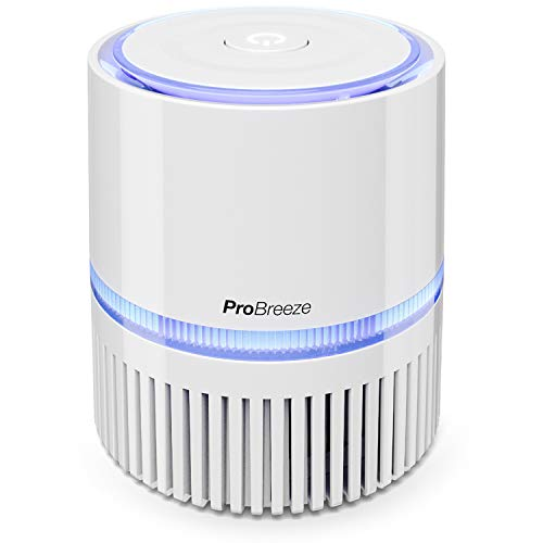 Pro Breeze Mini Air Purifier with True HEPA Filter, Personal Desktop Air Cleaner with Night Light for Home, Work, Office for Allergies, Smoke, Dust, Pollen and Pet Dander | USB and AC Power