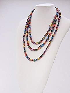 Lovely Crochet Rope Scarf Necklace- Charming, Quality, Handcrafted- Metallic Thread Adds Subtle Sparkle- Rainbow