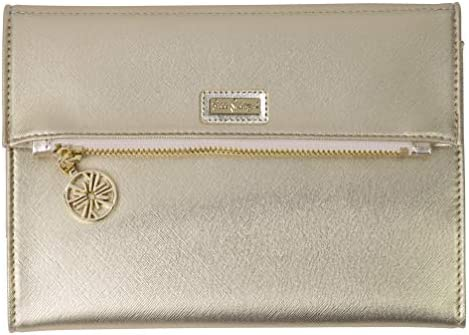 Lilly Pulitzer Women s Vegan Leather Travel Folio Clutch Wallet Metallic Gold product image