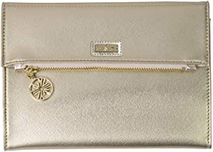 Lilly Pulitzer Women's Vegan Leather Gold Clutch Purse, Travel Wallet with Pocket Notepad, Metallic Gold