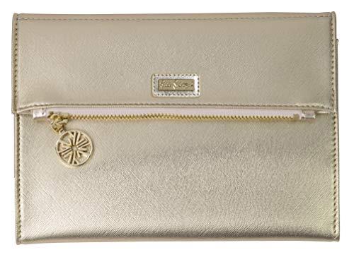 Lilly Pulitzer Women's Vegan Leather Travel Folio Clutch Wallet, Metallic Gold