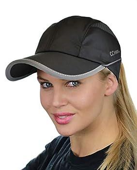 C.C Ponycap Messy High Bun Ponytail Water Resistant Adjustable Mesh Reflective Sporty Baseball Cap Black