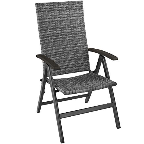 TecTake 800721 Garden Chair, Rattan Aluminium Frame, Backrest 5x Adjusted, 68x58x107,5 cm, Outdoor Indoor (Grey | No. 403234)