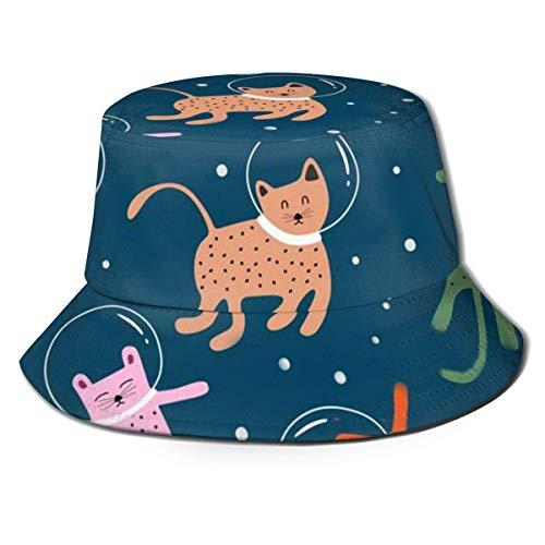 Lawenp Sombrero de Pescador 3D Astronauts Space Cat Stars Sombrero de Cubo Plegable Sombrero de Verano para Hombres Mujeres