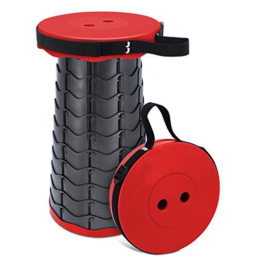 TAECOOOL - Sgabello pieghevole da campeggio, leggero, per campeggio, pesca, barbecue, cucina interna, portata massima 158 kg, colore: rosso
