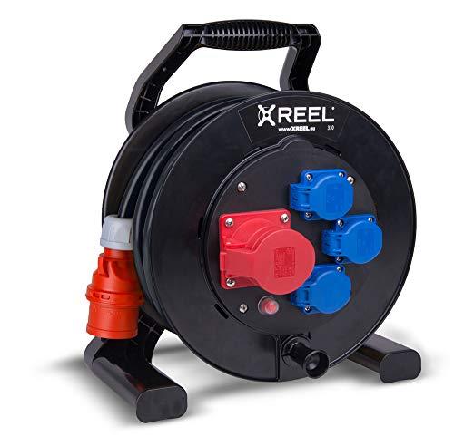 Preisvergleich Produktbild CEE Kabeltrommel XREEL 400V / 16A K2 IP54 Gummi H07RN-F 5x2, 5mm² schwarz 25m