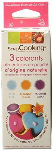 Scrapcooking 3 Colorants d'Origine Naturelle Pourpre Orange Bleu 7 g