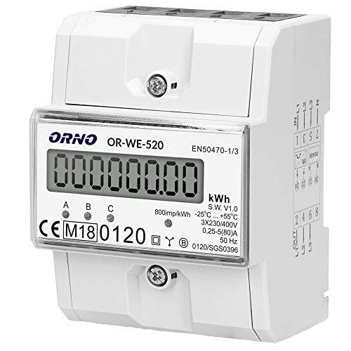 Orno OR-WE-520 Stromzähler Hutschiene 3-Phasen-Anzeige des Stromverbrauchs mit MID Zertifikat, 0,25A - 80A,3 x 230V/400V, 50/60Hz, 800 imp/kWh, weiß, M119