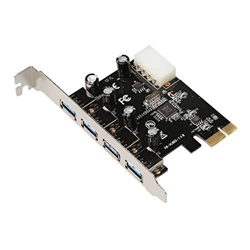worahroe Tarjeta de expansión USB 3.0 4pin de expansión PCI-E USB Powered PCI-E a USB Adaptador de la Placa adaptadora con 4 Puertos Computer NG Accesorio