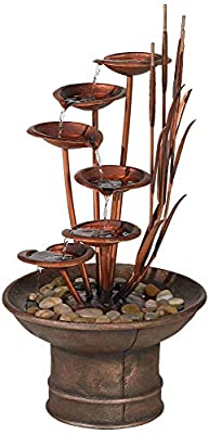 "John Timberland Water Lilies and Cat Tails Modern Outdoor Floor Fountain 33"" High Cascading for Yard Garden Patio Deck Home Relaxation"