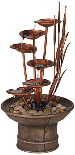 John Timberland Water Lilies and Cat Tails Modern Outdoor Floor Fountain 33' High Cascading for Yard Garden Patio Deck Home Relaxation