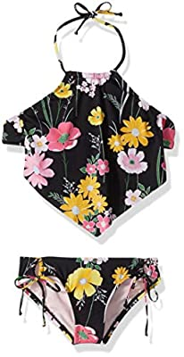 Hobie Girls' Big Hi-Neck Halter Tankini and Side Tie Hipster Swimsuit Set, Black//Flower Fields, 12
