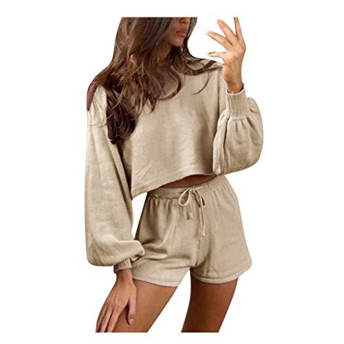 Pistaz Traje de manga larga para mujer, para otoño, cuello redondo, cintura alta, camiseta de manga larga de dos piezas + pantalones cortos para el tiempo libre, caqui, XL