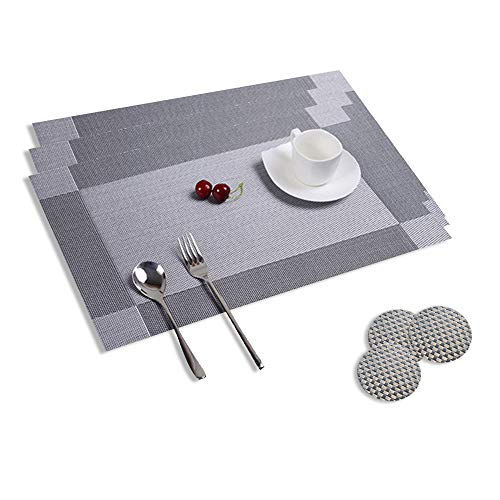 Table Mats, Set of 8 Dining Table Place Mats, Washable Placemats Non-Slip Heat Resistant PVC with Singel Border Decoration Rectangle 45x30cm With Sets of 8 Coasters for Kitchen and Dining Room