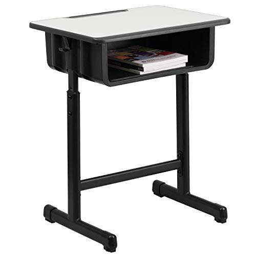 Flash Furniture Student Desk with Grey Top and Adjustable Height Black Pedestal Frame,Black, Natural - YU-YCY-046-GG