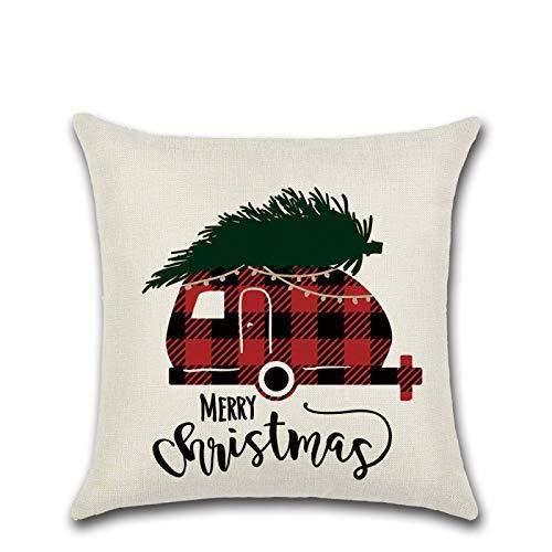 Hey shop Cotton linen pillowcase, red plaid Christmas square cushion cover, home decoration, sofa bedroom, 45X45Cm