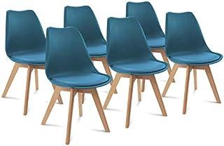 IDMarket - Lot de 6 chaises SARA Bleu Canard pour Salle à Manger