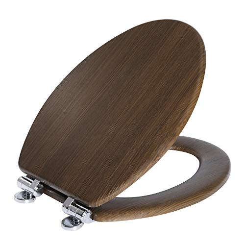 Angel Shield Toilet Seat Molded Wood with Quiet Close Easy Clean Quick-Release Hinges Covering with PVC Wood Pattern(Elongated,Wood Brown)