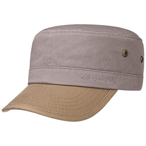 Stetson Fremont Army Cap Armycap Baumwollcap Sommercap Sonnencap Herren - Metallschnalle, mit Schirm Frühling-Sommer - S (54-55 cm) grau