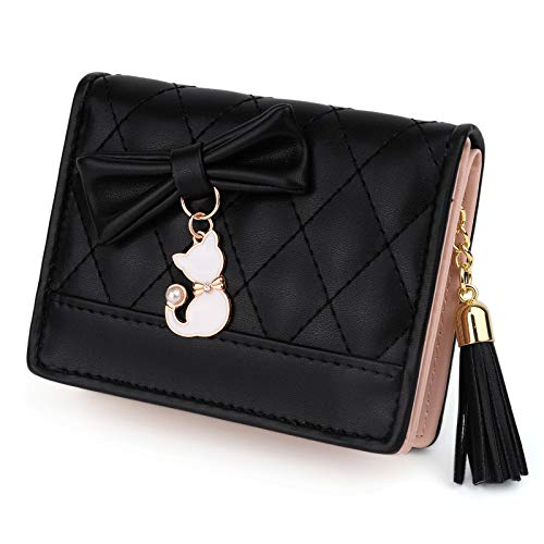 UTO Damen PU Leder Kurze Geldbörse Kleine Größe mit Nette Katze Anhänger Kartenhalter Telefon Tasche Mädchen Reißverschluss Geldbörse Schwarz