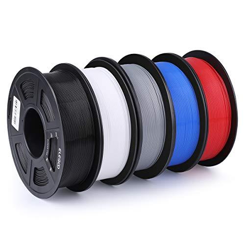 ELEGOO Filamento Stampante 3D 1.75 mm PLA, Dimensional Precision +/- 0.03 mm, Bobina da 1 kg, Contiene Cinque Colori