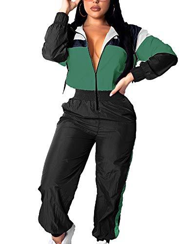Women Colorblock One Piece Outfits Set High Waist Pants Long Sleeve Zipper Front Windbreaker Jumpsuit Green XL