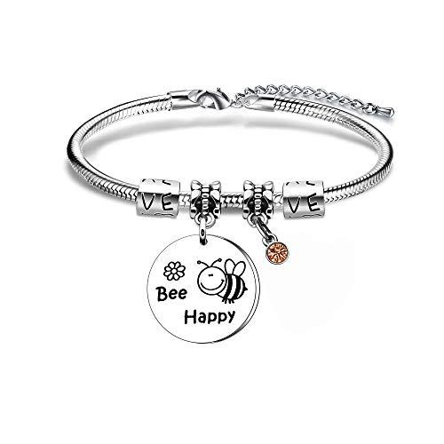 Pulsera para mujer y niña, diseño de abeja, ideal para madres, hijas, hermanas, cumpleaños, día de la madre, Navidad, etc.