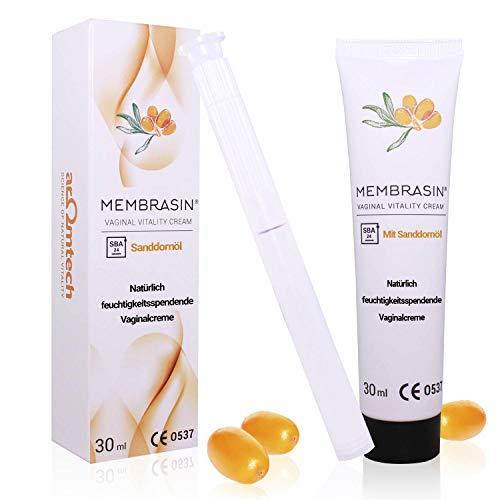 Membrasin Vaginal Vitality Cream 30 ml, hormonfreie Damen-Intimcreme (mit Applikator) für gesunde Schleimhaut - natürliche Feuchtigkeit und Schutz aus Sanddornöl