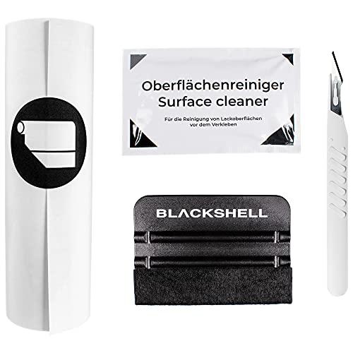 Blackshell® Universal Lackschutzfolie transparent 20cm x 100cm mit Werkzeug Set zum folieren Folie selbstklebend als Auto Folie, Motorrad Folie, Fahrrad Schutzfolie