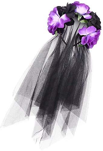 Auoeer Halloween Rose Skull Headbands Lace Malla Flor Pelo Crown Crown Guirnalda Hoja Banda de Pelo Tocado Floral con Velo para Disfraces de Cosplay Accesorios para el Cabello (prpura Negro)