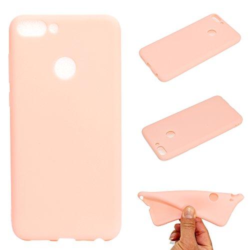 LeviDo Coque Compatible pour Huawei Honor 9 Lite Étui Silicone Souple Bumper Antichoc TPU Gel Ultra Fine Mince Caoutchouc Bonbons Couleurs Design Etui Cover, Rose