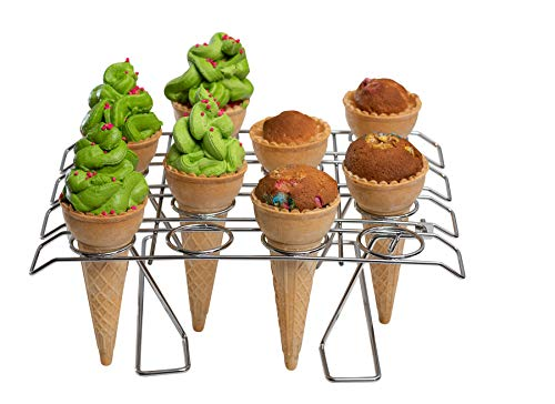 Cupcake Cone Baking Rack - 16 Ice Cream Cone Holder, Cones Stand, Foldable Cake Decorating Pastry Tray, Stainless Steel