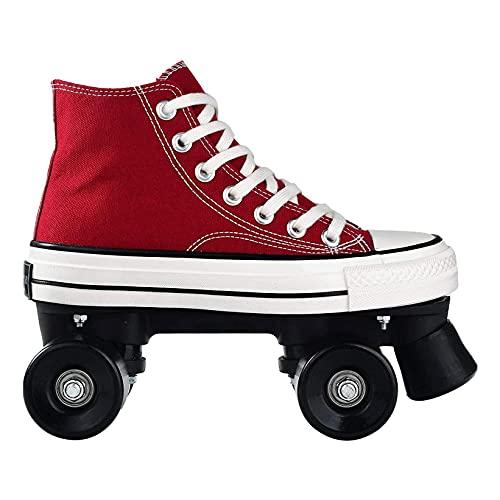 HANHJ Rollschuhe Doppelzeile 4 Räder Schlittschuhe Klassische Martin-Stil High-Top Roller Outdoor-Skates Für Frauen Roller Schuhe Pully Schuhe,Red-37